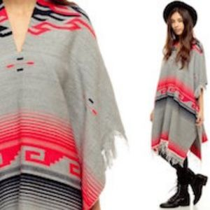 Accessories - Serape Blanket Fringed Shawl